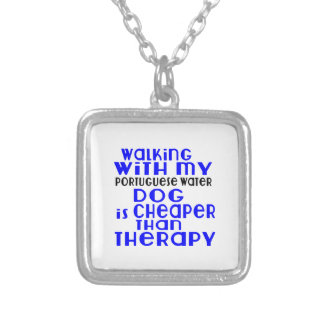 Walking With My Portuguese Water Dog Dog Designs Silver Plated Necklace