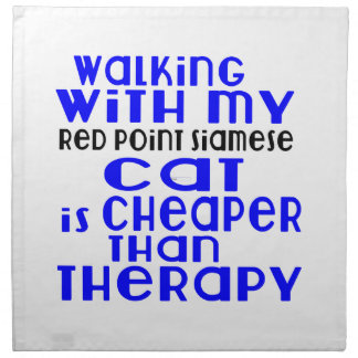 Walking With My Red point siamese Cat Designs Napkin