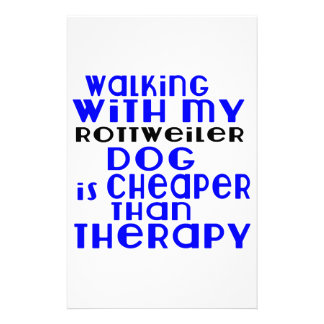 Walking With My Rottweiler Dog Designs Stationery Paper