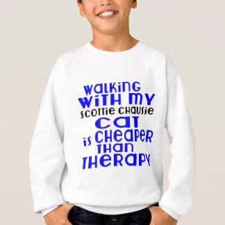 Walking With My Scottie chausie Cat Designs Sweatshirt