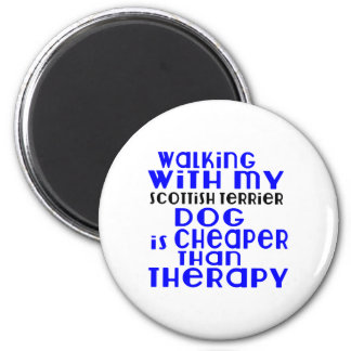 Walking With My Scottish Terrier Dog Designs 2 Inch Round Magnet