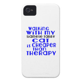 Walking With My Siamese tabby Cat Designs iPhone 4 Case-Mate Case