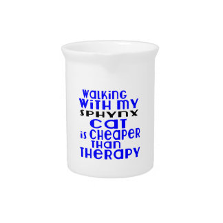Walking With My Sphynx Cat Designs Beverage Pitchers