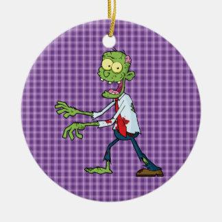 walking zombie round ceramic ornament
