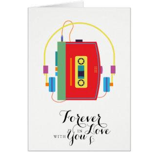 Walkman cassette Valentine card Forever in Love