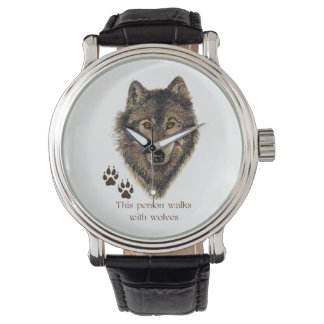 Walks with Wolves Quote Wild Wolf Head Logo tracks Wrist Watch