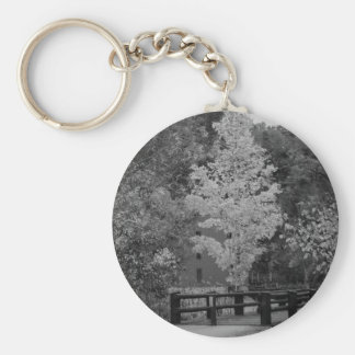 Walkway Bridge to Alley Mill Grayscale Keychain