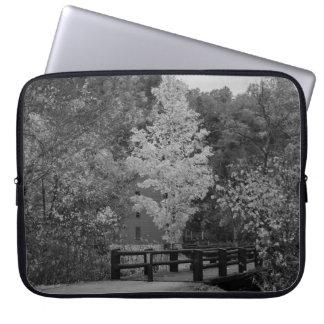 Walkway Bridge to Alley Mill Grayscale Laptop Sleeve