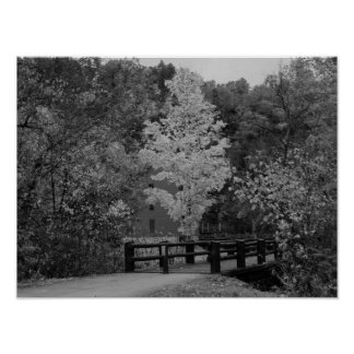 Walkway Bridge to Alley Mill Grayscale Poster