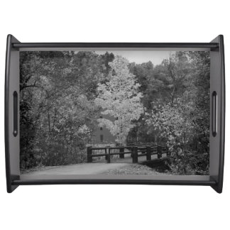 Walkway Bridge to Alley Mill Grayscale Serving Tray