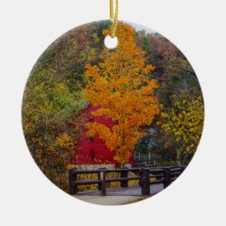 Walkway Bridge To Alley Mill Round Ceramic Ornament
