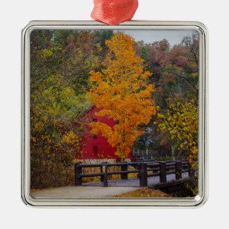 Walkway Bridge To Alley Mill Silver-Colored Square Ornament
