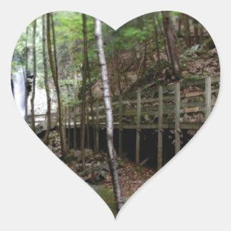 walkway near stream heart sticker