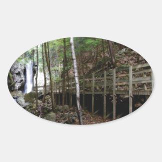 walkway near stream oval sticker