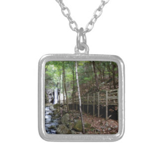 walkway near stream silver plated necklace