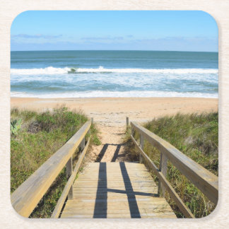 Walkway to the beach square paper coaster