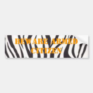 wall782, BEWARE ARMED CITIZEN Bumper Sticker