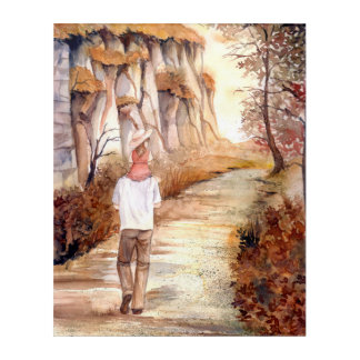 Wall Art Autumn Trail Watercolor Painting