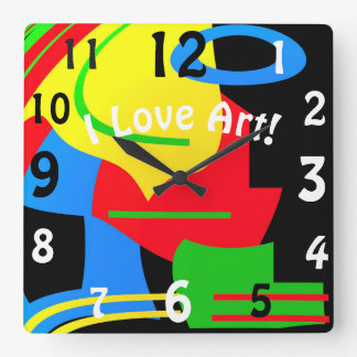 Wall bell with colour! square wall clock