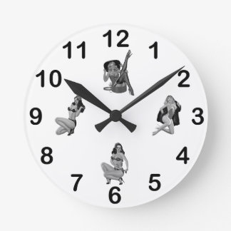Wall Clock Black White PinUp Girls Mixed