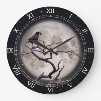 Wall Clock Crow at Night Raven Tree Gothic Fantasy