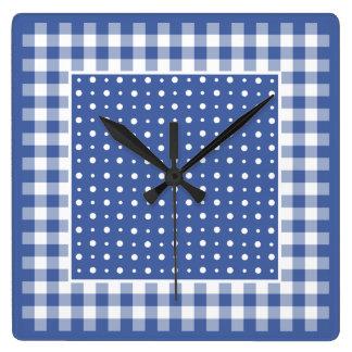 Wall Clock, Dark Blue Polka Dots, Check Gingham Square Wall Clock