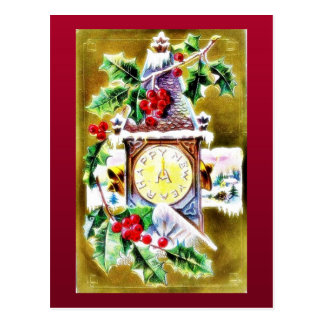 wall clock decorated by holy leaves postcard