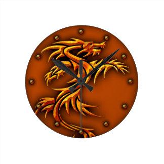 Wall clock dragon design in copper color