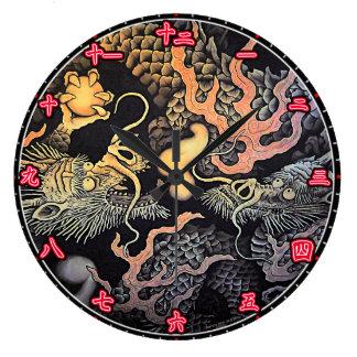 Wall Clock Dragons Temple Japanese Kanji Numerals