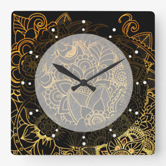 Wall Clock Floral Doodle Gold G523