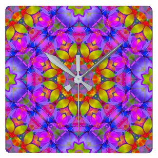 Wall Clock Floral Fractal Art G445