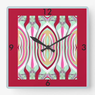 Wall Clock -Home Decor-Red/Pink/Tan/Seafoam
