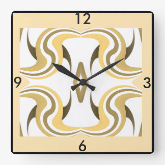Wall Clock-Home-Gold/Creme/Peach/White/Brown/Tan Square Wall Clock