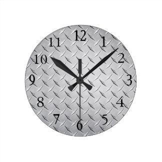 Wall Clock in Silver Diamond Plate