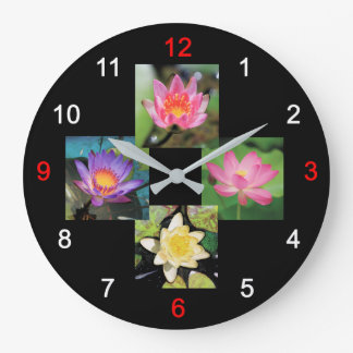 Wall clock of pond lily and lotus, No.01