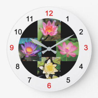 Wall clock of pond lily and lotus, No.03