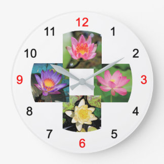Wall clock of pond lily and lotus, No.04