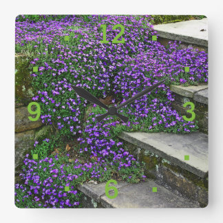 WALL CLOCK/PURPLE FLOWERS CLINGING TO STEPS/GREEN WALL CLOCK