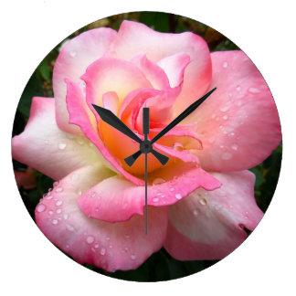 Wall clock - rose with pink petals