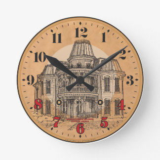 Wall Clock: Victorian Mansion Round Clock
