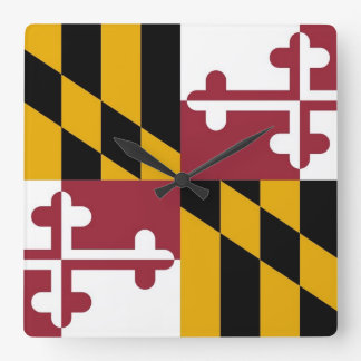 Wall Clock with Flag of Maryland, USA