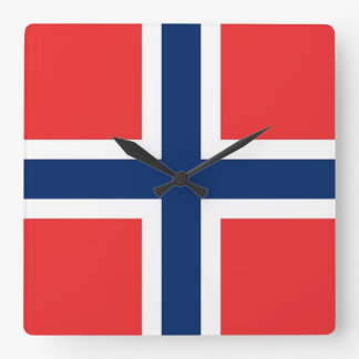 Wall Clock with Flag of Norway