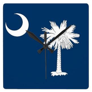 Wall Clock with Flag of South Carolina, USA