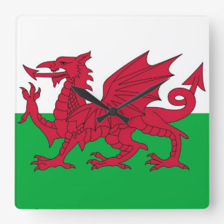 Wall Clock with Flag of Wales