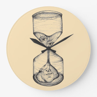 Wall clock with upright hourglass draining face