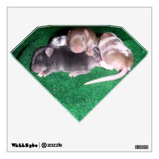 Wall Decal: 4 baby mice (diamond) Wall Sticker