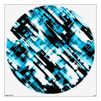 Wall Decal Hot Blue Black abstract digitalart G253