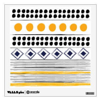 Wall decal : with Aztec pattern / yellow black