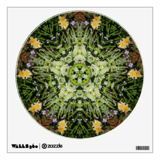 Wall decal with plant kaleidoscope circle