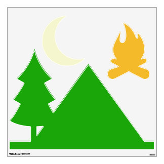 Wall deco, camping. fire, tree, tent and crescent wall decal